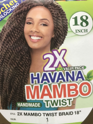 JANET COLLECTION NOIR 2X HAVANA MAMBO TWIST BRAID CROCHET INTERLOCKING  18""